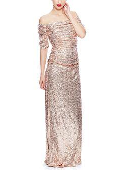 On ideel: BADGLEY MISCHKA Sequin Off Shoulder Gown