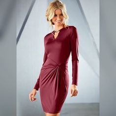 Venus Keyhole Burgundy Dress Burgundy dress with gathering on front hip. Gold clasp at keyhole that can unlatch. Never worn. Still has plastic covering clasp and garment tag attached. Beautiful deep rich color ! Soft fabric made of polyester and Elastane. Venus Dresses Long Sleeve