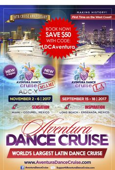 """Love cruises? Love latin dancing? Then the Aventura Dance Cruise is for you! Use promo code """"LDCAVENTURA"""" when booking your cabin to save $50 off! Use that extra $50 for a cool colorful drink! Visit AventuraDanceCruise.com to book your cruise and don't forget to use promo code """"LDCAVENTURA"""" for the discount!"""