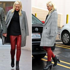 Red leather + plaid coat, Gwen Stefani style.