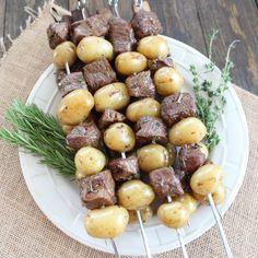 Rosemary Steak and Potato Skewers in 30 minutes! #steak #recipe #skewers #grill