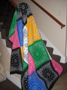 Make a Bandanna Quilt ~ now this would be a quick and easy quilt to make.