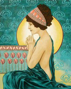 (For the parents lounge)  1930s European Art Deco 8x10 Meditation Beautiful Woman. $15.00, via Etsy.