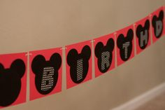 "Mickey inspired ""happy birthday"" banner"