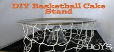 BASKETBALL THEME: DIY Cake stand made with products from the dollar store. Easy to make and customize to any occasion.