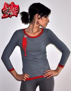 Grey Tshirt with red