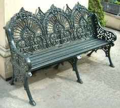 Fancy garden bench in deep hunter green
