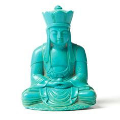 Turquoise Hand Carved Buddha Inspiring Hollywood Interior Design Accents, Courtesy of InStyle-Decor.com Beverly Hills for Interior Design Fans to Enjoy