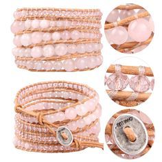 Handmade 5 Wrap Bracelet Rose Quartz & Pink Crystal on Leather Fashion Jewelry #Unbranded #Beaded