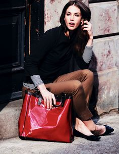 Boden 2012 Fall - Retro Top; Essential Crew Neck Tee; Bistro Crop Trouser; Patent Pointed Pumps; Chelsea Bag