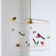 DIY Bird Cage Light: What you'll need: - An old lamp shade - hardware cloth - some floral wire - wire cutters - gloves - gold . Birdcage Chandelier, Chandelier Ceiling Lights, Birdcage Light, Pendant Lights, Kids Ceiling Lights, Lampshade Chandelier, Green Chandeliers, Diy Lampshade, Kitchen Chandelier