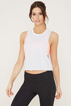 FOREVER21 ACTIVE Active Polka Dot Muscle Tee