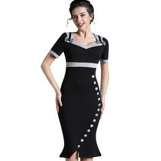 7a54c35606 Nice-forever Bowknot Female Work Vintage Dress Women Cotton Tunic Black  Short Sleeve Formal Mermaid Buttons Wiggle dress b220