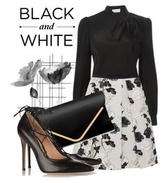 """Black and White"" by larissa-k ❤ liked on Polyvore featuring Crate and Barrel, RED Valentino, Weekend Max Mara and Gianvito Rossi"