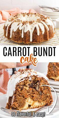 Cake Mix Carrot Cake Recipe, Carrot Cake Bundt, Homemade Carrot Cake, Easy Carrot Cake, Cake Mix Recipes, Frosting Recipes, Cupcake Recipes, Bundt Cakes, Carrot Cake Cheesecake