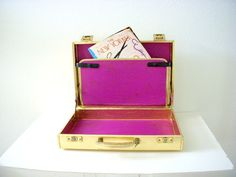 Briefcase Bling -  Vintage Metallic Gold Briefcase with Purple Moire Lining Gold Attache Case on Etsy, $35.00