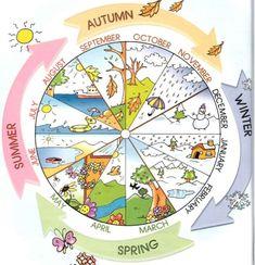 Englisch in der Grundschule: months and seasons Kids English, English Lessons, English Words, Learn English, Seasons Of The Year, Months In A Year, Four Seasons, Year 2, Seasons Months