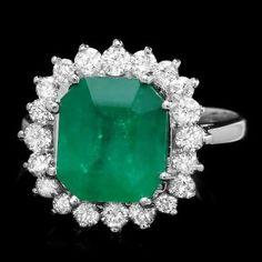 Beautiful 3.70 ct Emerald and Diamond Engagement / Wedding Ring.