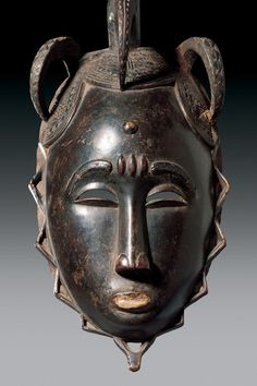 Yaure FACE MASK Ivory Coast. H 44 cm. Provenance: Swiss Private Collection, formerly the African colonial collection.