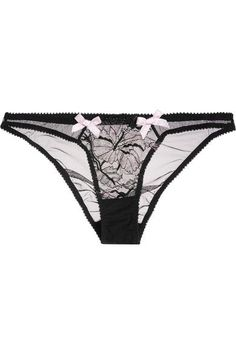 f006a84948 L Agent by Agent Provocateur - Macie Leavers Lace And Stretch-tulle Briefs  - Black - small