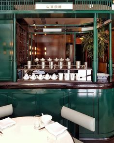 says: Get ready for dumplings, cocktails & retro tea-house vibes with a modern twist from the team behind 🍵🍃🍚🍤🌿🎉 Architecture Restaurant, Restaurant Interior Design, Cafe Interior, Interior Styling, Tea Restaurant, Chinese Restaurant, Trattoria Italiana, Chinese Bar, Chinese Interior