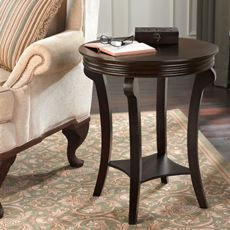 Bombay® D' orsay End Table - Bombay® D' orsay End Table features a French inspired design. With an ample surface and bottom storage shelf, this accent table is perfect tucked by a bed or your favorite reading chair. The table is made with solid wood and finished in a multi-step application of rich mahogany.