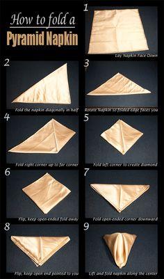 How to fold a Pyramid Napkin, Pyramid Napkin Fold