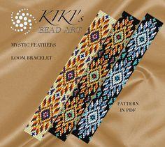Bead loom pattern - Mystic feathers ethnic inspired LOOM bracelet pattern in PDF - instant download