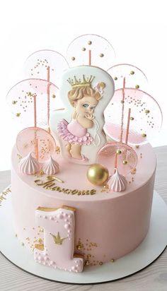 1st Birthday Cake Designs, 19th Birthday Cakes, 1st Birthday Cake For Girls, Creative Birthday Cakes, First Birthday Cupcakes, Bithday Cake, Beautiful Birthday Cakes, Cake Birthday, Cake Designs For Girl