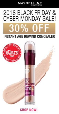 Maybelline's cult classic and fan favorite concealer, Instant Age Rewind is 30% OFF! Now's the time to stock up on your shade and shop this sweet deal. Don't miss out, you won't find this 2-for-1 sale in stores. Shop now on Amazon!