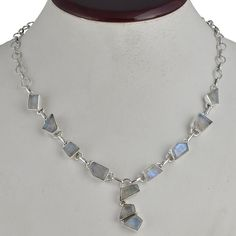 925 SOLID STERLING SILVER EXCLUSIVE RAINBOW MOONSTONE NECKLACE 19.40g NK0043 #Handmade #NECKLACE