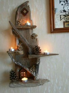 Wonderful DIY projects you can do with driftwood - Diy Projekt - Wonderful DIY projects you can do with driftwood projects Driftwood Shelf, Driftwood Projects, Driftwood Furniture, Driftwood Ideas, Deco Originale, Home Candles, Diy Candles, Wood Creations, Farmhouse Decor