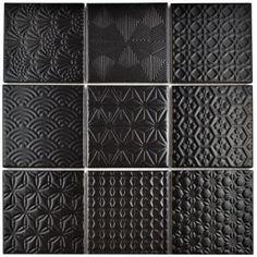 Merola Tile Spirit Black 11-5/8 in. x 11-5/8 in. x 6 mm Porcelain Mosaic Tile-FTC4SPBK - The Home Depot