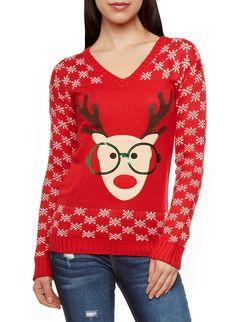 Rainbow Sequin Glasses Reindeer And Snowflakes Graphic V-Neck Sweater Reindeer Sweater, Rainbow Shop, Snowflake Pattern, Christmas Cookies, Snowflakes, Christmas Sweaters, Festive, Sequins, Silhouette