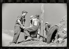 """Boys to Men: November 1935. Prince George's County, Maryland. """"CCC boys at work."""" Another one of those Civilian Conservation Corps projects that involved..."""