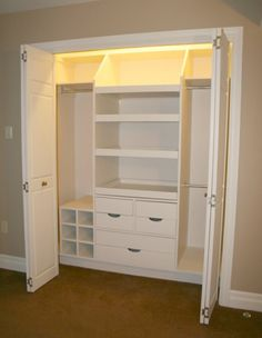 Kids closet. Huge fan of getting rid of those space-consuming chest of drawers.