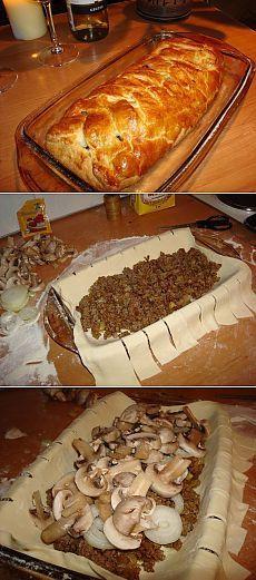 Быстрый мясной пирог с грибами | Готовим вместе