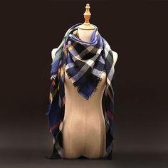 Plaid Cashmere Scarf Women Oversized Blanket Scarf Wrap long Wool Scarf Women Pashmina Shawls