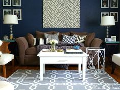 Home Tour// Living Room with Navy Blue wall-->let's recreate this for our living room but in brighter colors @Kyle Bragger Bragger Smith