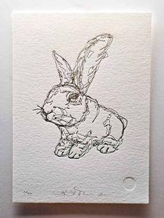 KLT works Rabbit Letterpress Print modern kids decor