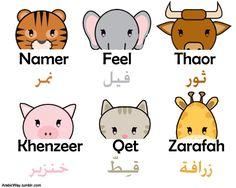 learning Arabic MSA (Fabienne) Arabic: Animals Arabic Ox Tiger arabic way cat elephant giraffe pig (arabicway. Learning Arabic, Kids Learning, Learn Arabic Online, Ramadan Activities, Arabic Phrases, Arabic Lessons, Preschool At Home, Arabic Language, Kids Education