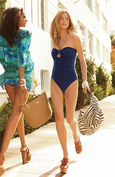 La Blanca 'Glimmer Girl' Shirred One Piece Bandeau Swimsuit