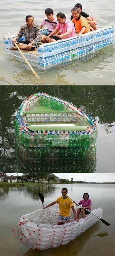 bricolage avec bouteille plastique, cayak de bouteilles utilisable