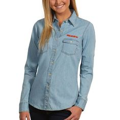 Chicago Bears Antigua Women's Chambray Long Sleeve Button-Up T-Shirt – Light Blue - $41.99