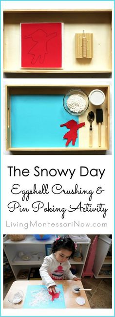Combine two popular Montessori activities, eggshell crushing and pin poking, to create a craft for toddlers and preschoolers based on The Snowy Day.