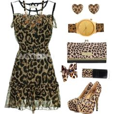 """Leopard Dress, Pumps, accessories"" by pacconylois on Polyvore"