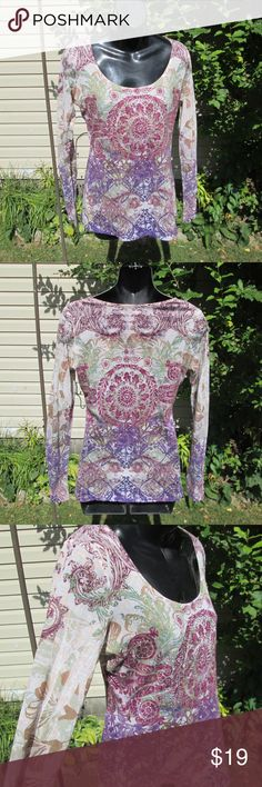 """One World* Boho Beauty Top A dreamy rhinestone studded sublimation  print. Cream with sage, mauve, gold, violet. Thin, wide scoop neck, t shirt style.  Measured flat. 18"""" pit to pit. 24"""" long. On 30"""" x 23"""" x 30"""" mani ONE WORLD Tops Tees - Long Sleeve"""