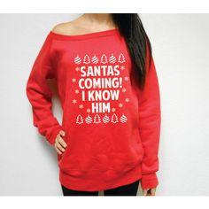 Fleece Lined Buddy the Elf Sweatshirt Sants Coming Sweatshirt I Know... ($36) ❤ liked on Polyvore featuring tops, hoodies, sweatshirts, black, pullovers, sweaters, women's clothing, sweat shirts, black sweat shirt and wide neck sweatshirt