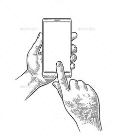 Male Hand Holding Phone Vintage Engraving by MoreVector Malle hands holding and touching a modern mobile phone. Vintage drawn black vector engraving illustration for info graphic, poster Hand Holding Phone, Holding Hands, Drawing Reference, Drawing Tips, Hand Holding Something, Engraving Illustration, Phone Logo, Smartphone, Vintage Drawing