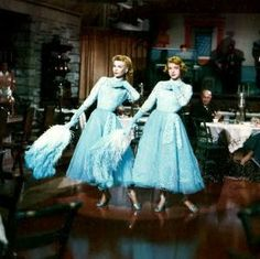 These dresses were the epitome of fashion. Edith Head (the renowned Hollywood costume designer), concocted the most lovely gowns for White Christmas. White Christmas Image, White Christmas Movie, Christmas Scenes, Christmas Images, Christmas Movies, Holiday Movie, Sister Songs, Vera Ellen, Hollywood Costume